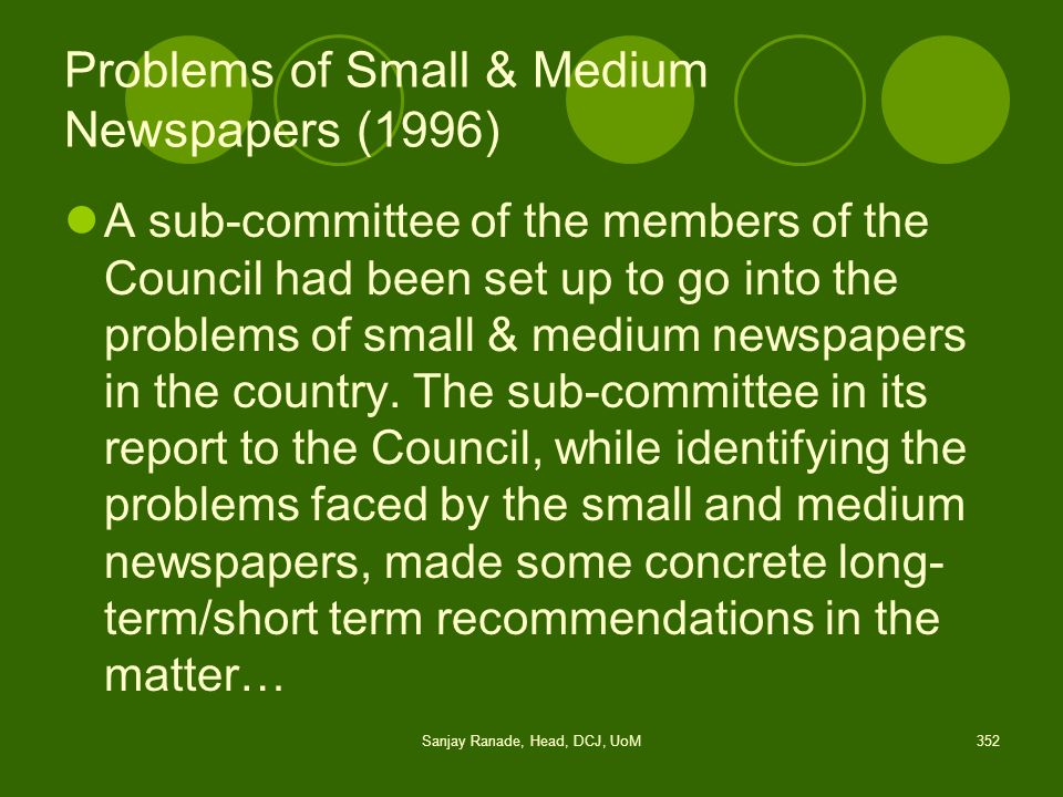 Problems of Small & Medium Newspapers (1996)