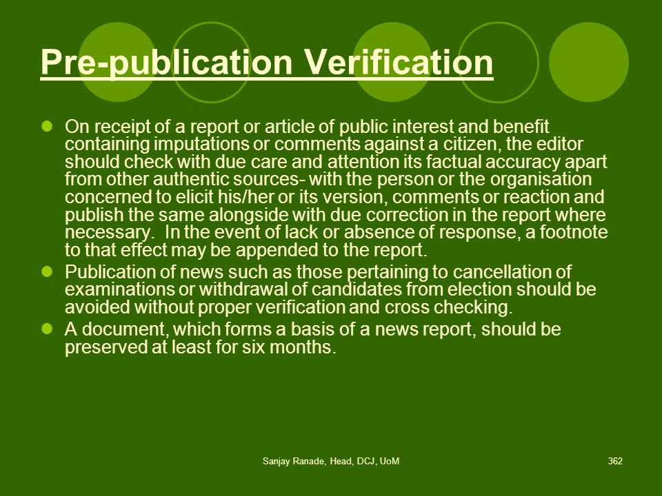 Pre-publication Verification