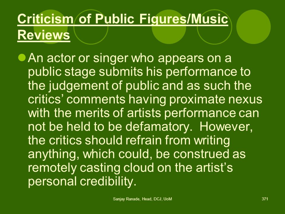 Criticism of Public Figures/Music Reviews