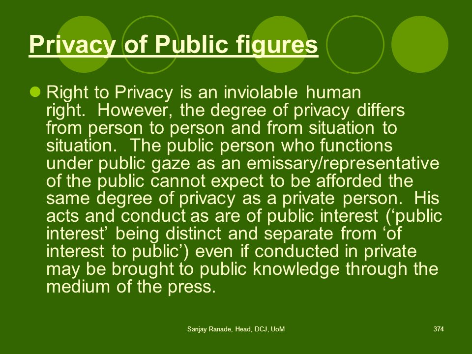 Privacy of Public figures