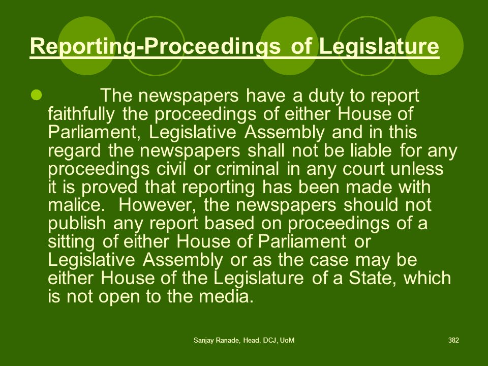 Reporting-Proceedings of Legislature