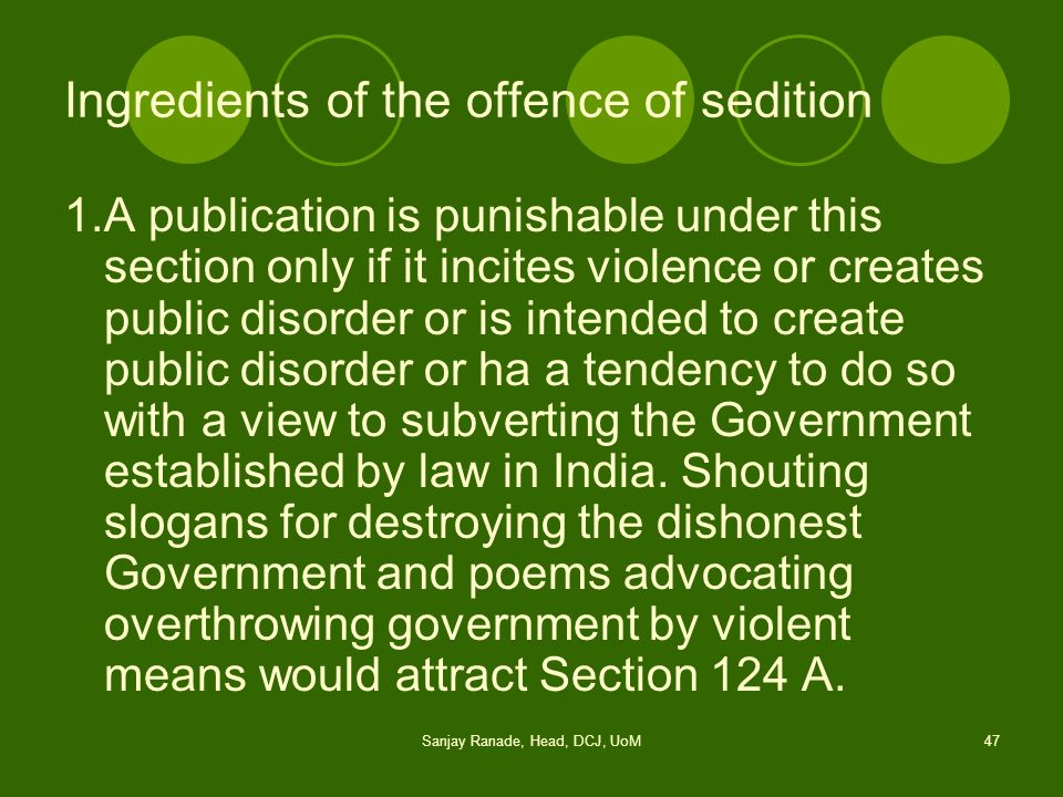 Ingredients of the offence of sedition