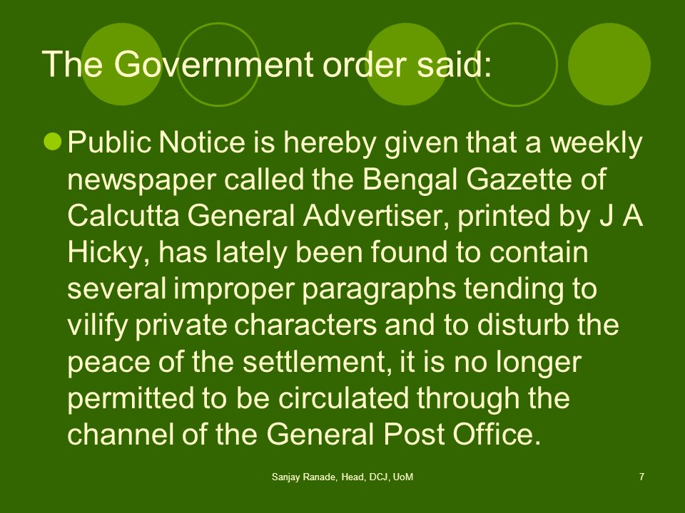 The Government order said: