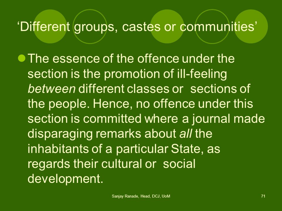 'Different groups, castes or communities'
