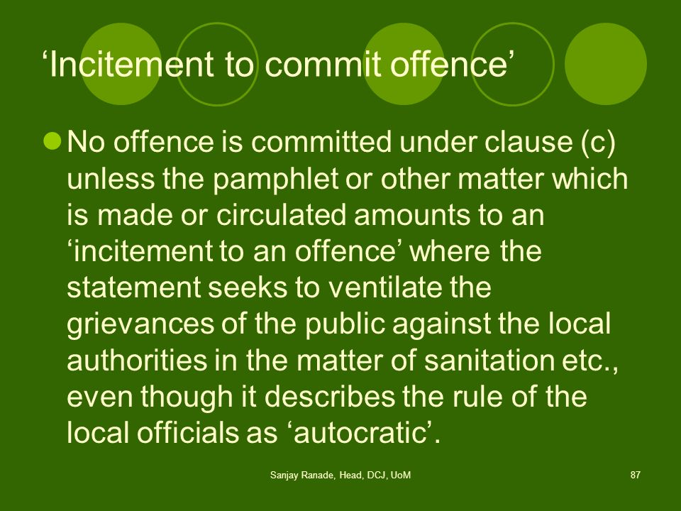 'Incitement to commit offence'