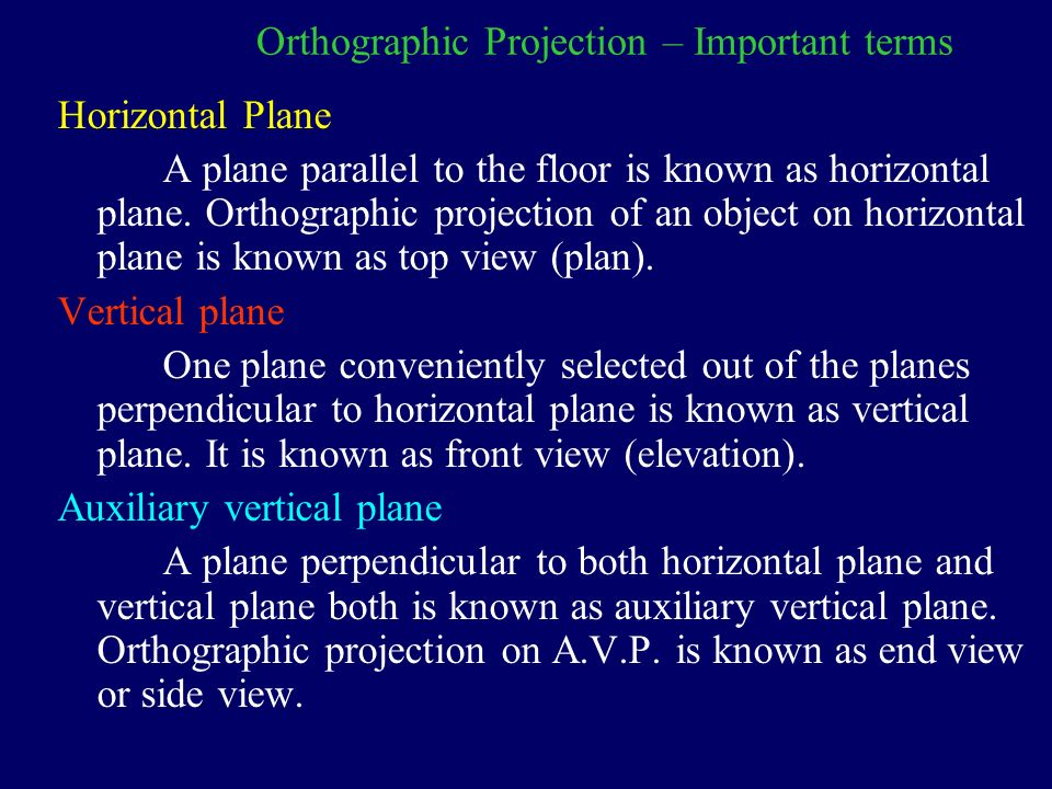 definition and importance of orthographic projection View and projection for a scene and should be able to define the view  for the  orthographic projection is not particularly important because.