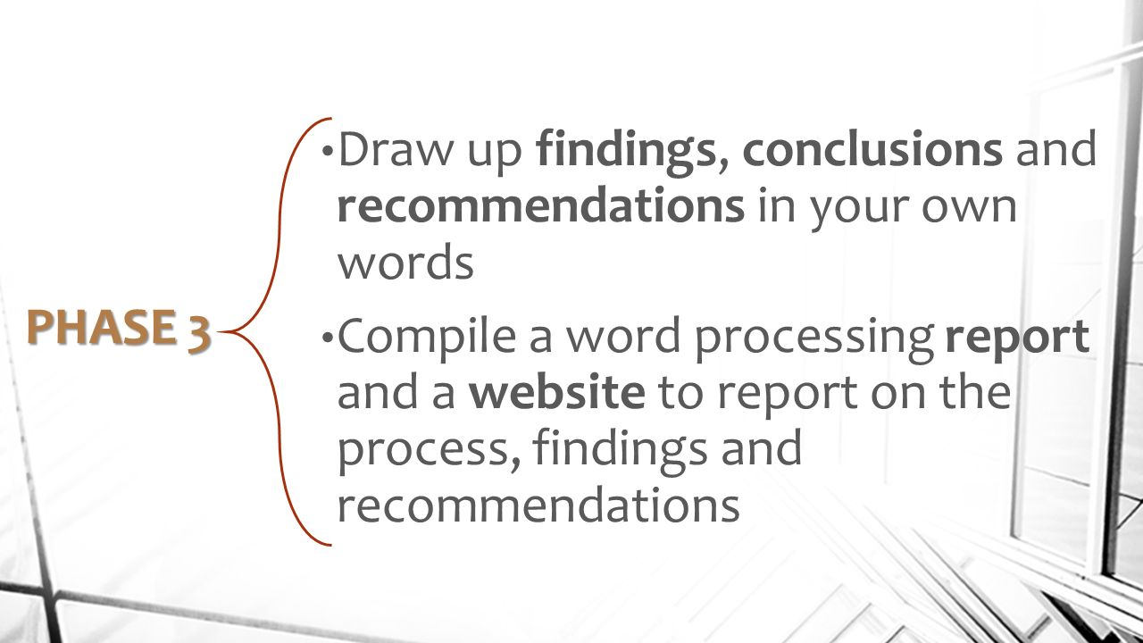 Findings conclusions recommendations and scope for
