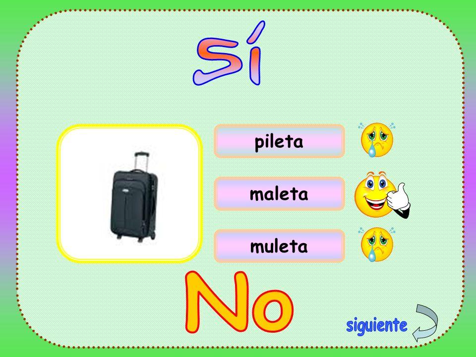 Sí pileta maleta muleta No siguiente