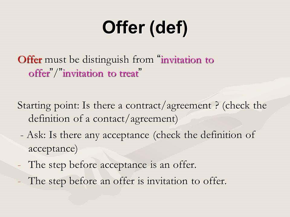 2 contract law 21 introduction 22 making a contract ppt download offer def offer must be distinguish from invitation to offer invitation to treat stopboris Choice Image