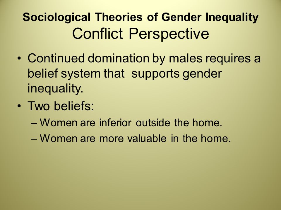 theories of gender inequality Learn sociology inequality theory on gender with free interactive flashcards choose from 500 different sets of sociology inequality theory on gender flashcards on quizlet.