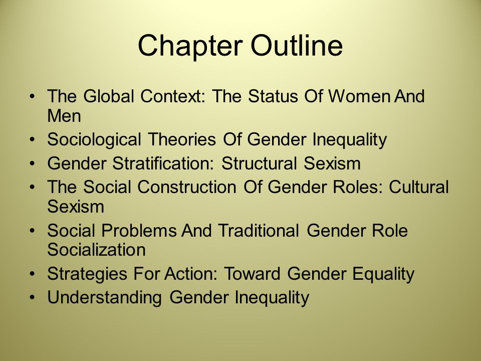 gender inequality in religion sociology essay Gender inequality gender inequality is the differences in the status, power and prestige women and men have in groups, collectivities and societies gender inequality usually affects women more than men due to the status in society.