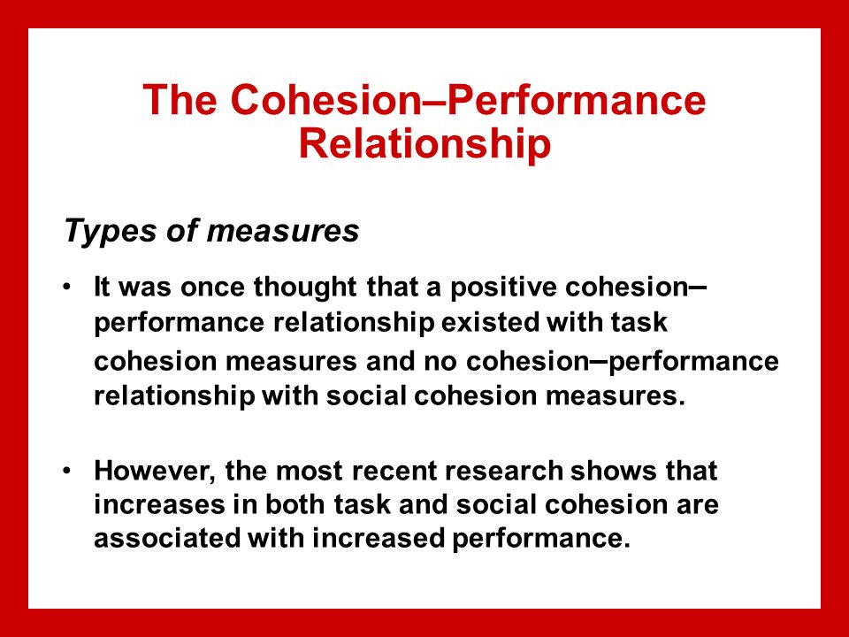 group cohesion and performance