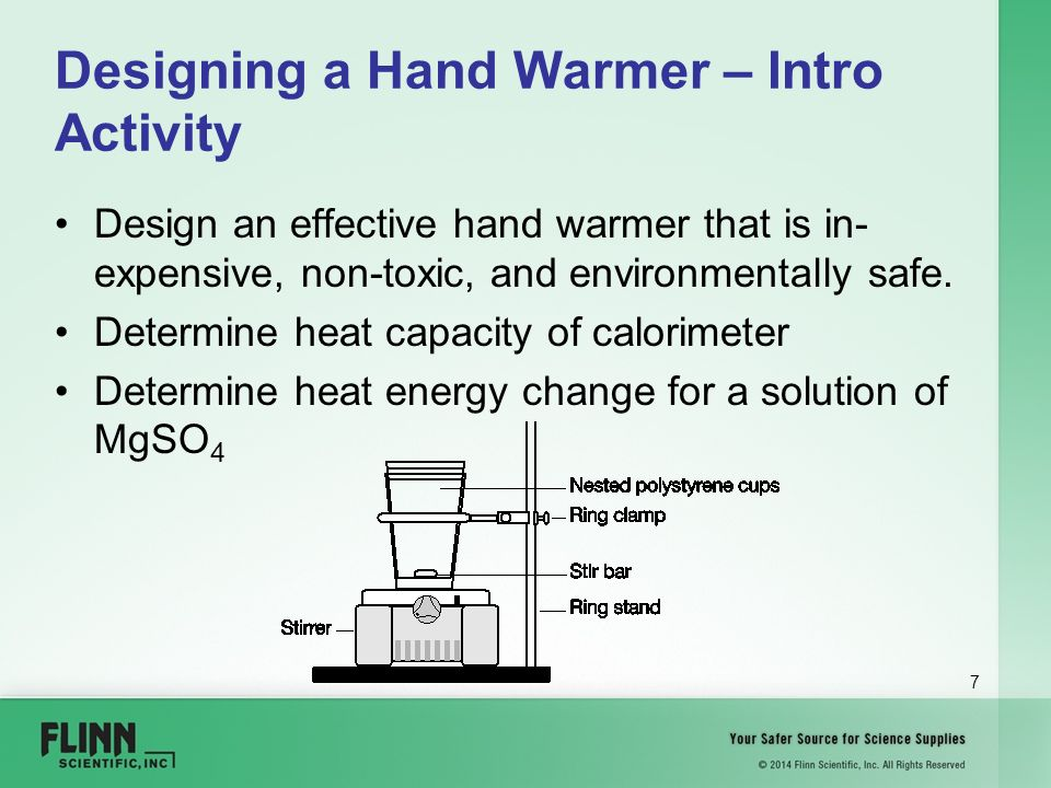 """a lab experiment designing a hand warmer The goal of this lab is to design an effective,  lab handout based on the experiment """"the hand warmer design challenge"""" in ap chemistry."""