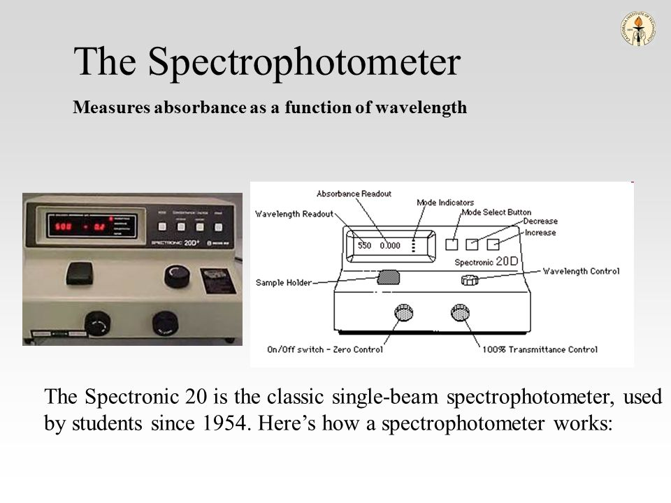 wavelength functions of a spectrophotometer By removing the concentration dependence, the extinction coefficient (ε) can be determined as a function of wavelength microspectrophotometry edit.