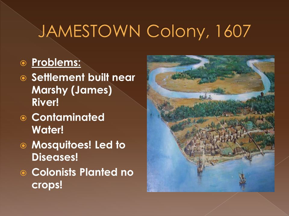 dbq on jamestown colony problems Many colonists in early jamestown died because of environmental issues, their  relationships with native americans and their lack of settler.