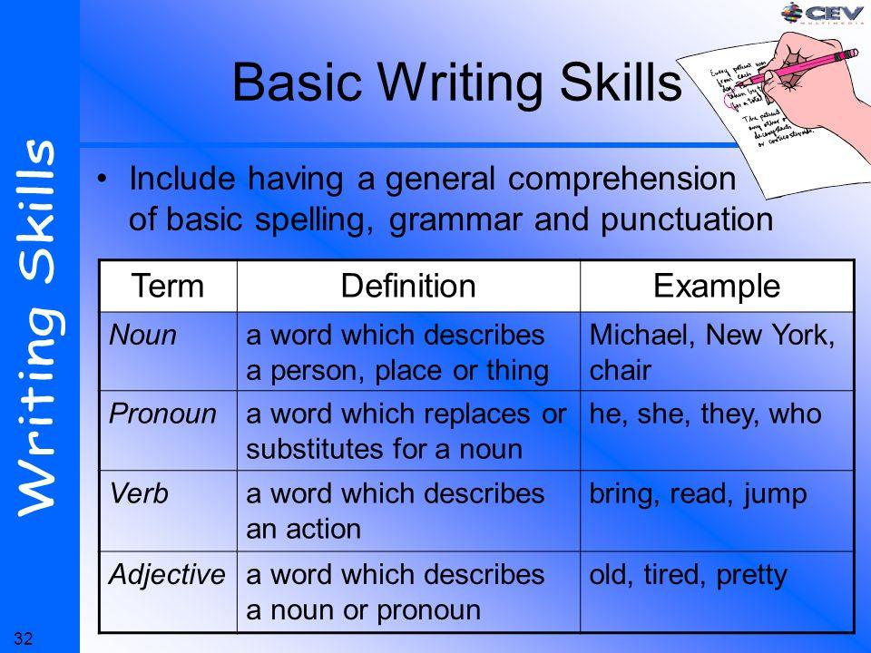 definition of writing skill pdf