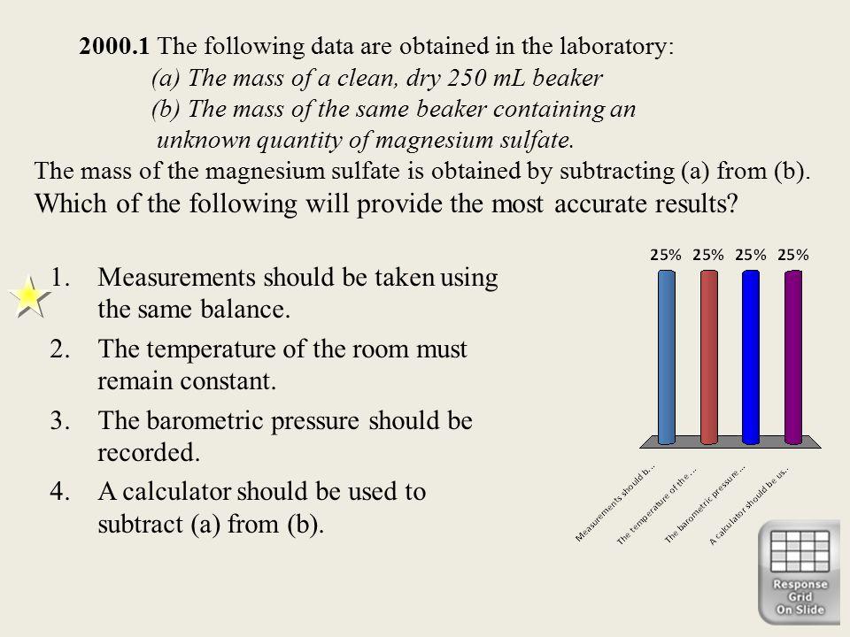 Measurements should be taken using the same balance.