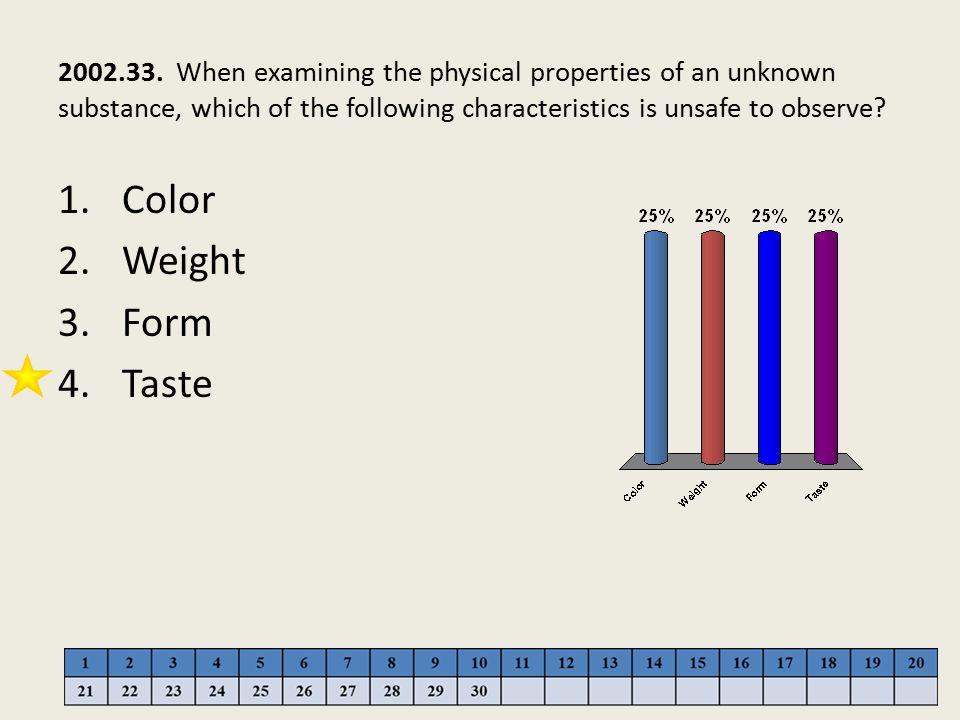 Color Weight Form Taste