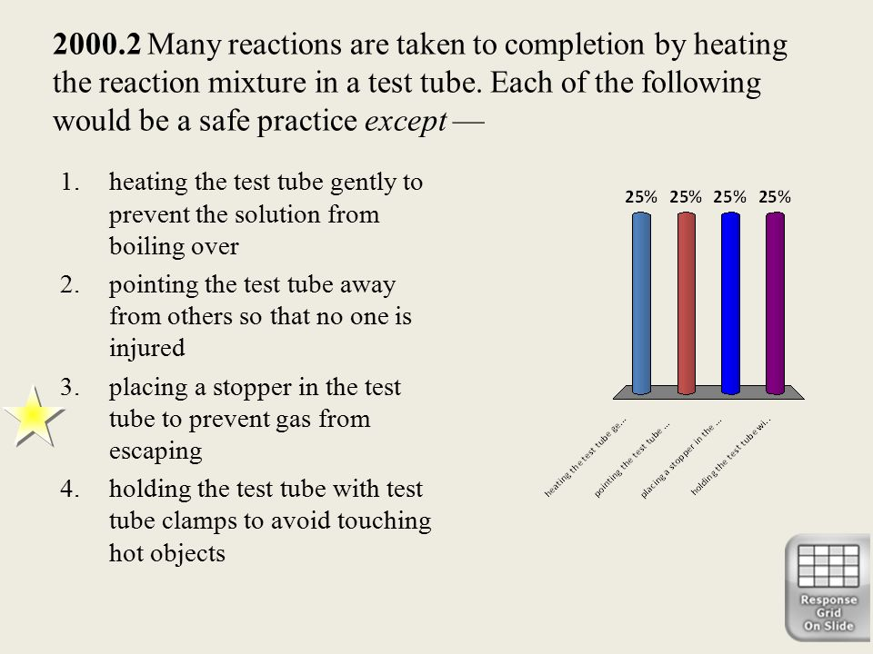 2000.2 Many reactions are taken to completion by heating the reaction mixture in a test tube. Each of the following would be a safe practice except —