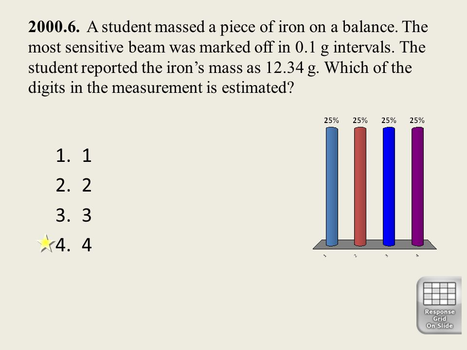 2000. 6. A student massed a piece of iron on a balance