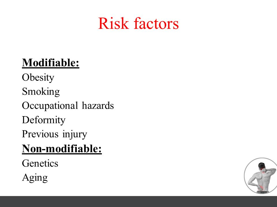 Risk factors Modifiable: Non-modifiable: Obesity Smoking
