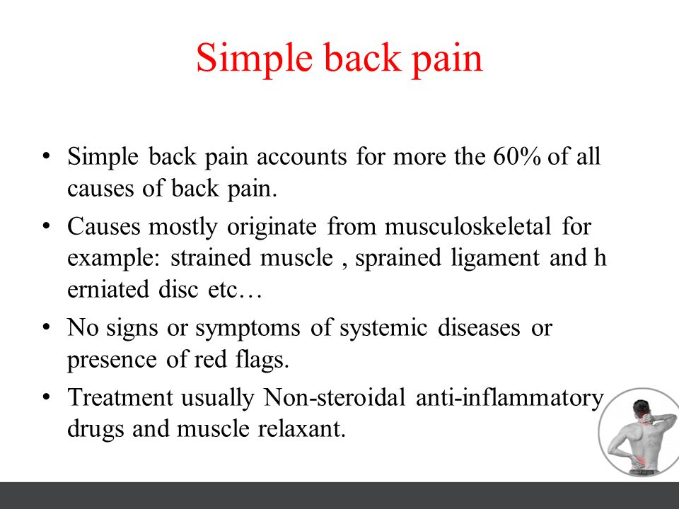 Simple back pain Simple back pain accounts for more the 60% of all causes of back pain.