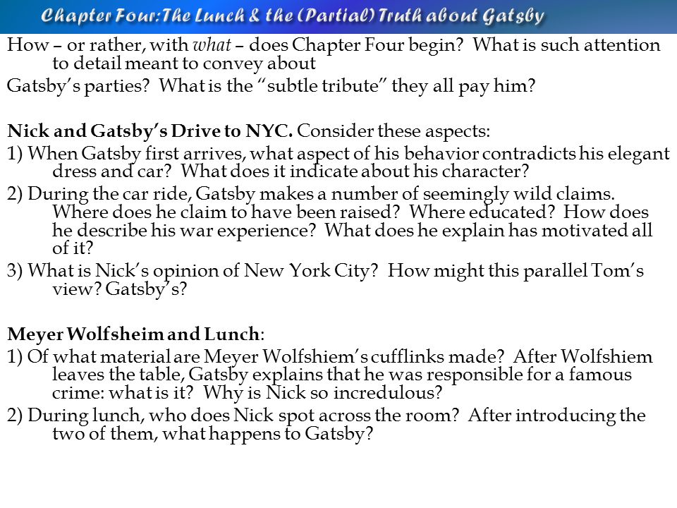 The Great Gatsby For Every Question Go Back Through The Novel And