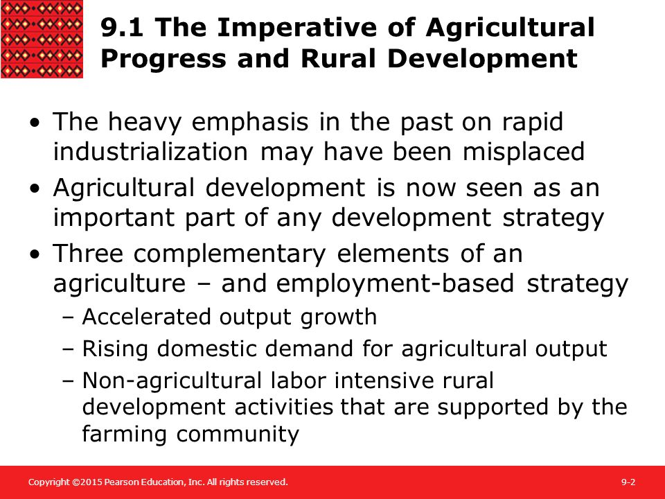 9.1 The Imperative of Agricultural Progress and Rural Development
