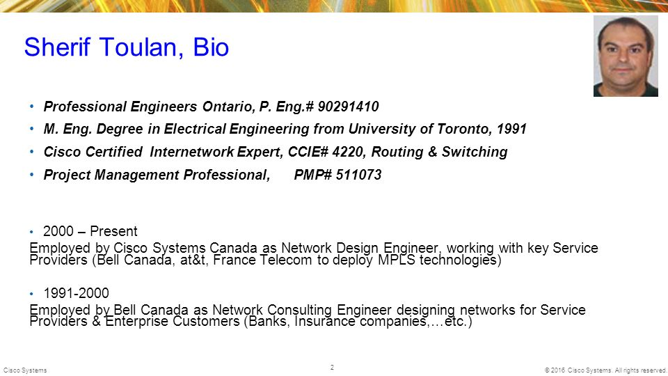 sherif toulan bio professional engineers ontario p eng 90291410 - Network Consulting Engineer