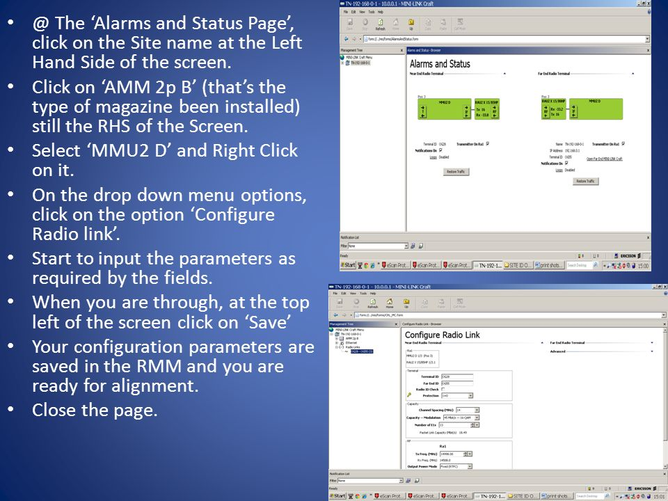 @ The 'Alarms and Status Page', click on the Site name at the Left Hand Side of the screen.