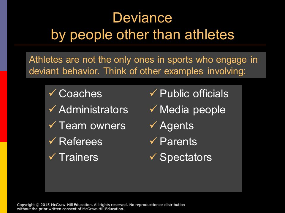 concepts of deviance in sports What role does ethics play in sports how we each compete in sports can have an effect on our personal moral and ethical behavior outside of the competition.