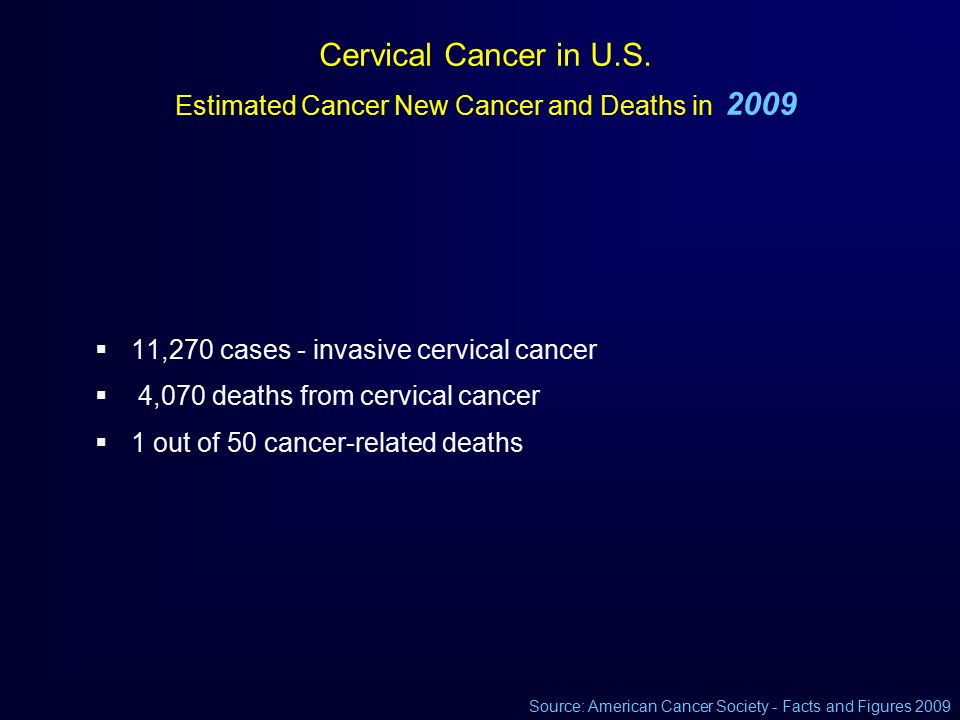 Latest update on cervical cancer screening ppt download cervical cancer in us estimated cancer new cancer and deaths in 2009 toneelgroepblik Images