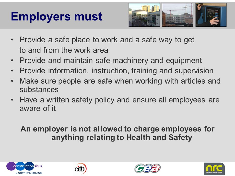 ensure a safe work place A workplace health and safety program is a process for managing the  have a  responsibility to your employees to ensure workplace safety.