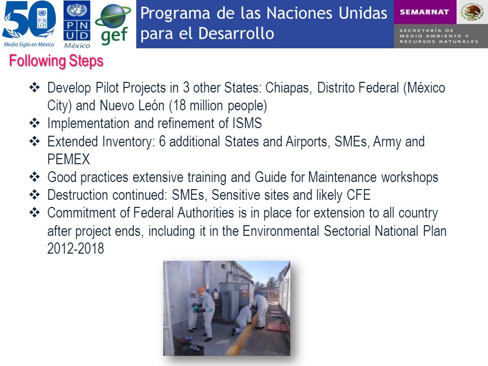 Following Steps Develop Pilot Projects in 3 other States: Chiapas, Distrito Federal (México City) and Nuevo León (18 million people)