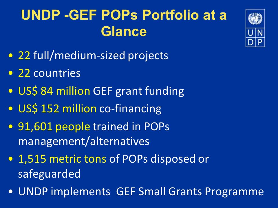UNDP -GEF POPs Portfolio at a Glance