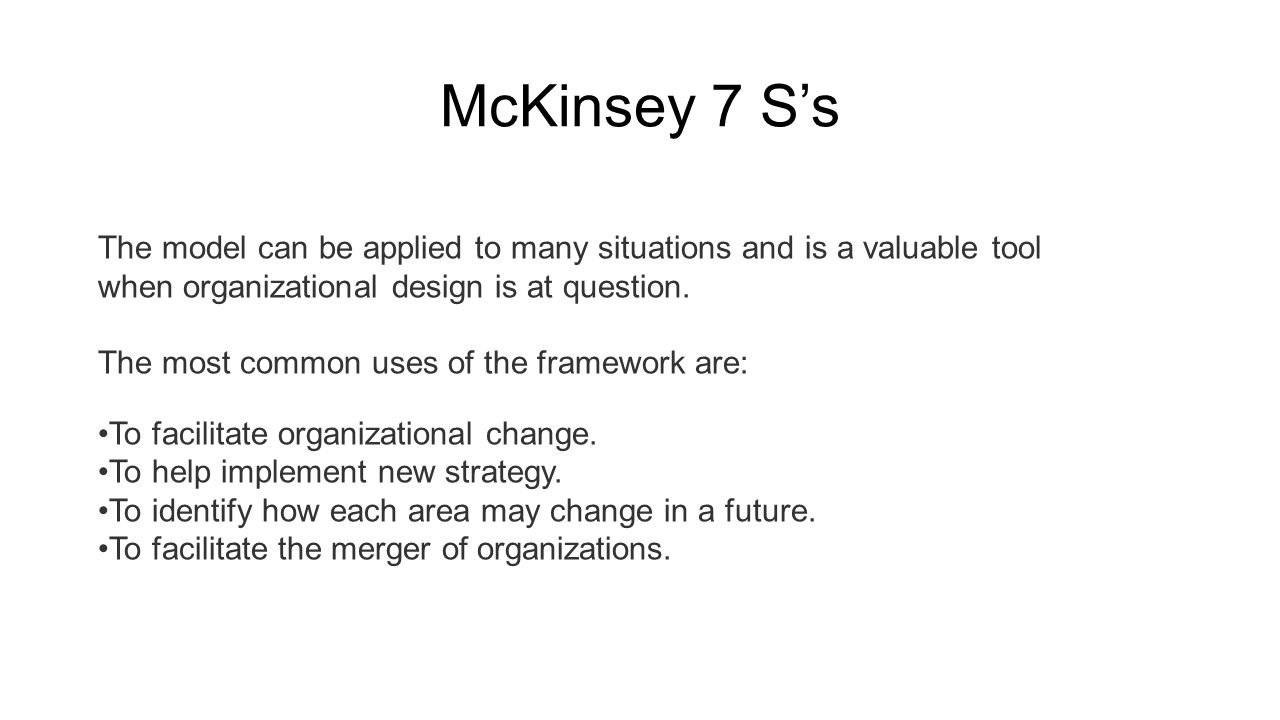 mckinsey 7s model applied to fast food industry