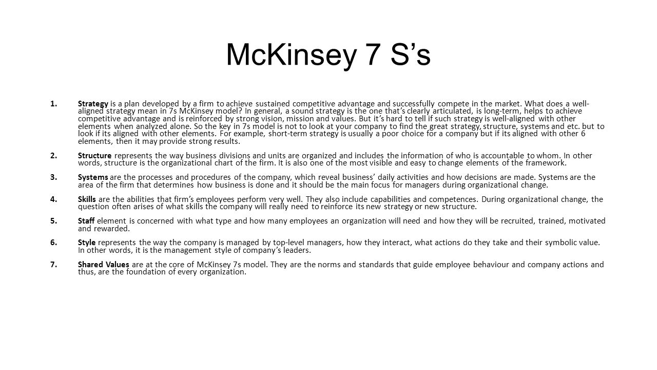 Business plan guide mckinsey 7s