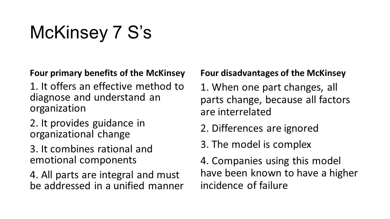 disadvantages of mckinsey s 7 s model A brief history of the 7-s (mckinsey 7-s) model i was asked to write a roughly 1k-word précis of the 7-s/mckinsey 7-s model, of which i was a co-inventor.