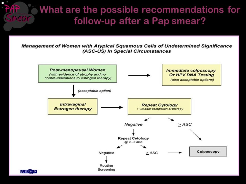 What are the possible recommendations for follow-up after a Pap smear