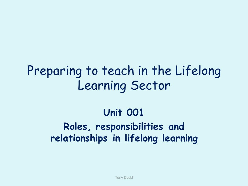 roles responsibilities and relationships in lifelong learning 4 essay Roles, responsibilities and relationships in lifelong learning within your role and responsibility as a member of teaching staff you will be expected to follow what is referred to as a code of professional practice (2008).