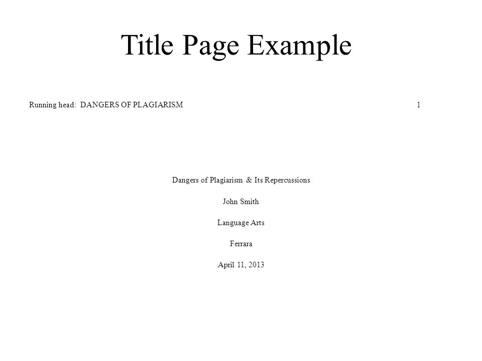Title Page Of Apa - Template