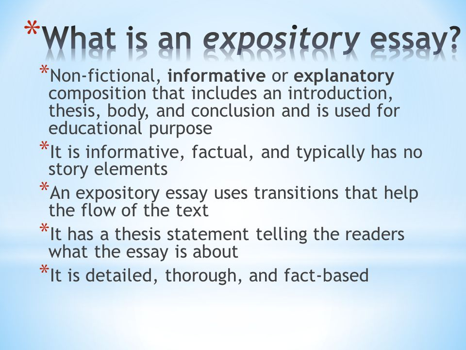 generate an introduction and conclusion for your expository essay This bundle pack has 6 resources to help train your students how to write an expository essay included in this bundle: how to write an expository introduction.