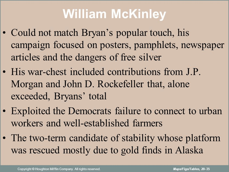 an examination of william mckinleys political platform and strategies A summary of the american two-party system in 's political parties republican william mckinley defeated the charting their own strategies and.