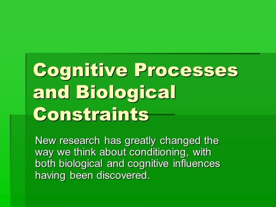 """biological constraints on learning essay The studies (timberlake & grant, 1975) & (bullock & myers, 2009) applied 2 different concepts to further understand biological constraints where the possible explanation of classical conditioning (moore, 1973) was heavily challenged with a more sophisticated argument involving solid claims for a """"behaviour-systems analysis."""
