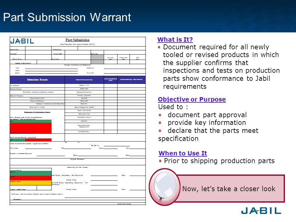 part submission warrant Part submission warrant submitting production part approval process ( ppap ) reports to your customers is easier with qa assistant studio™ the aiag part submission warrant ( psw ) may be created within qa assistant studio.