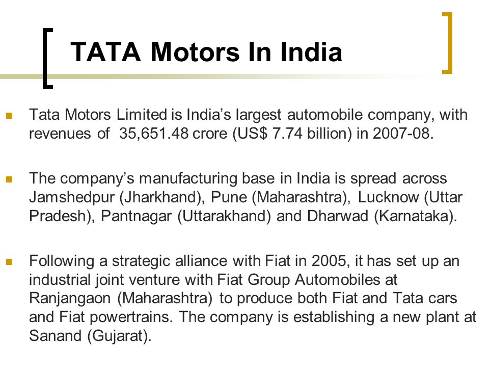 strategy on tata motors Tata motors was awarded 'hr innovation of the year', for its significant  seth  was in charge of the logistics unit ekart along with strategy and.