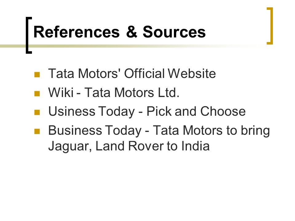 tata motors case Access to case studies expires six months after purchase date publication date: april 30, 2015 the head of performance and rewards at tata motors limited (tml) was.