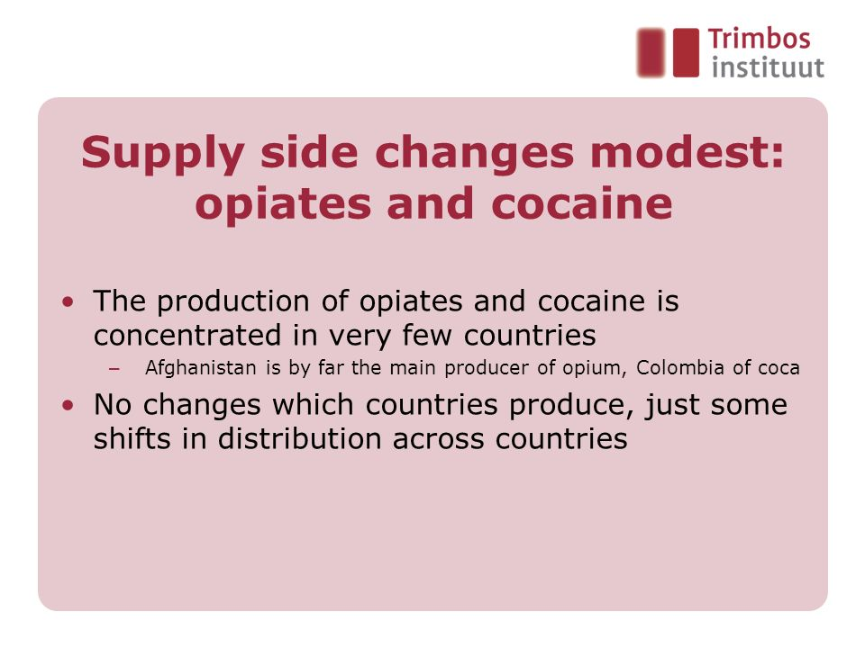 Supply side changes modest: opiates and cocaine