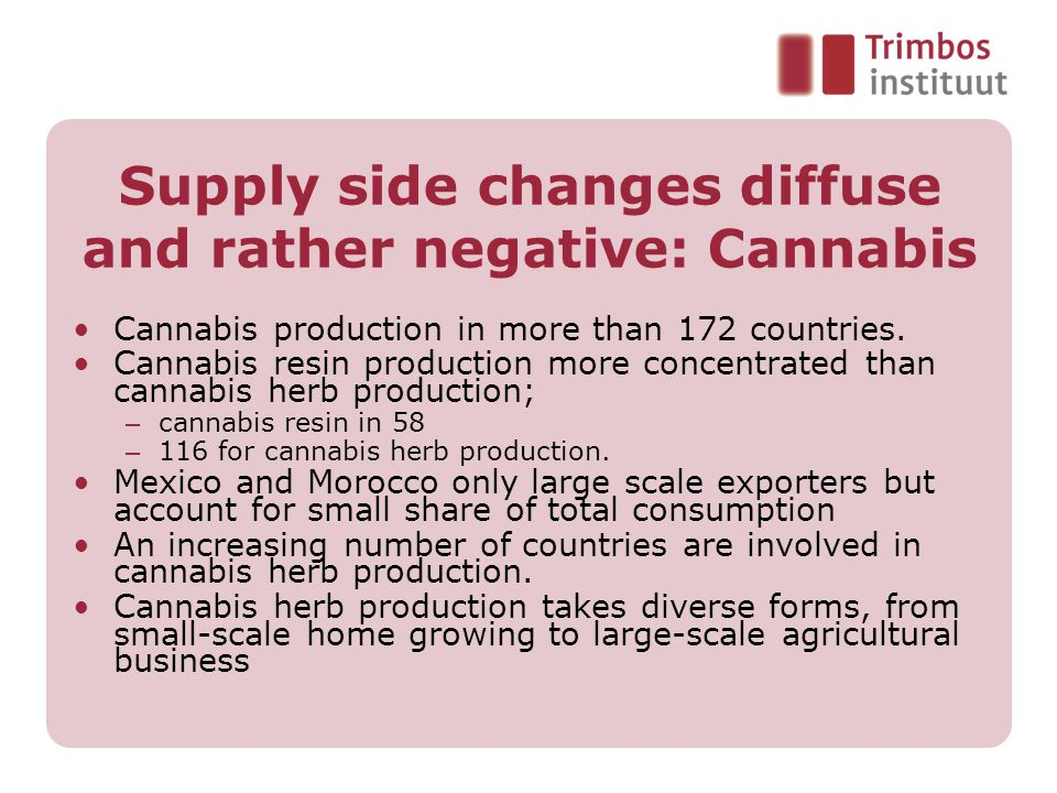 Supply side changes diffuse and rather negative: Cannabis