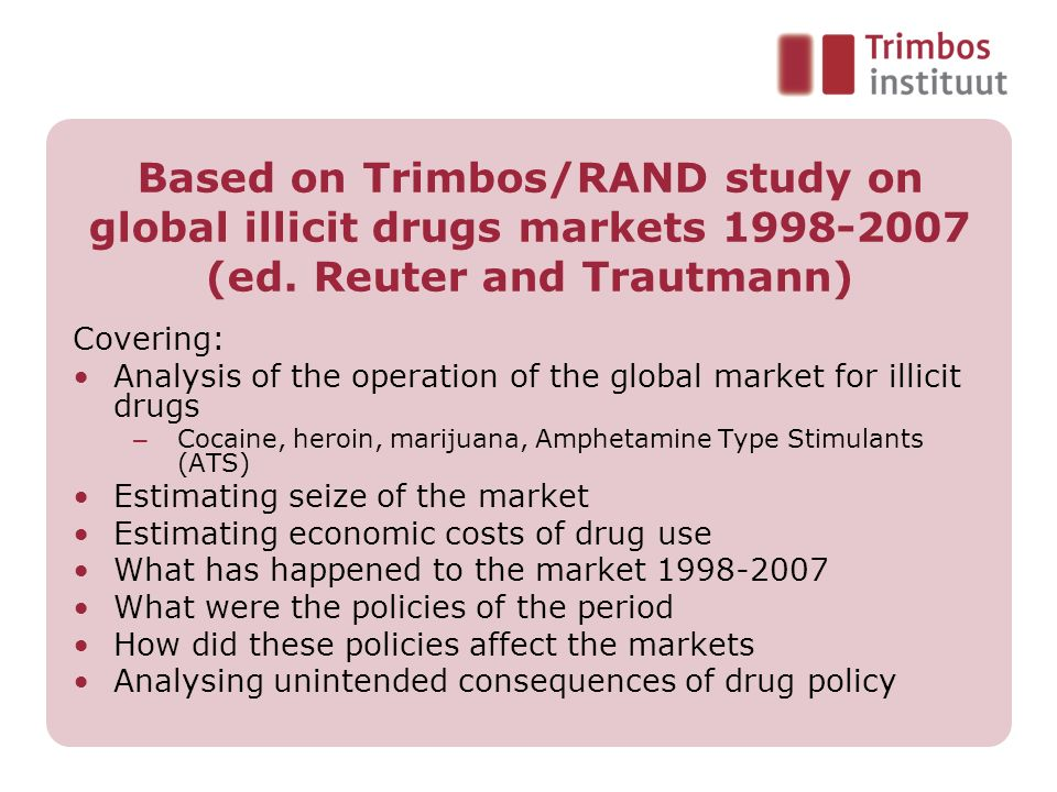 Based on Trimbos/RAND study on global illicit drugs markets (ed. Reuter and Trautmann)